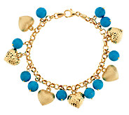 As Is VicenzaGold 6-3/4Turquoise & Heart Charm Bracelet, 14K - J320049