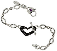 Scott Kay 0.95 cttw Black Spinel Heart Bolo Link Bracelet - J321049