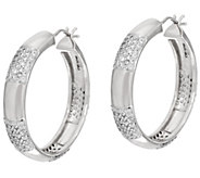 Bronzo Italia 1-1/4 Round Pave Crystal Station Hoop Earrings - J321749
