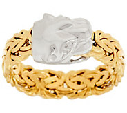 As Is 14K Gold Panther Head Byzantine Ring - J322049