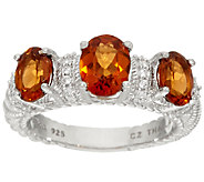 Judith Ripka Sterling 2.50 cttw Triple Hessonite Ring - J324049