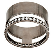 As Is Italian Silver Diamonique & Polished Double Band Ring - J324449
