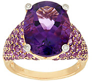 Uruguayan Amethyst & Pave Amethyst Bold Ring, 14K Gold 8.50 cttw - J324749
