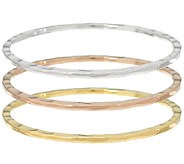 RLM Bronze Tri Color Set of 3 Flat Edge Bangles - J326149