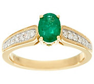 Oval Zambian Emerald & Diamond Ring 14K Gold 0.60 cttw - J328649