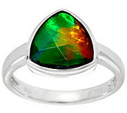 Trillion Cut Ammolite Triplet Sterling Silver Ring - J329449