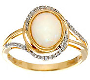 Australian Opal and Diamond Ring, 14K Gold 0.90 cttw - J329949