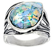 Sterling Silver Roman Glass Bold Ring by Or Paz - J330249