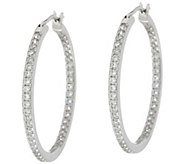 Diamonique Pave Hoop Earrings, Sterling - J330449