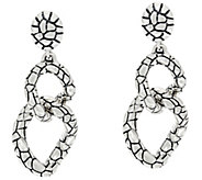 JAI Sterling Silver Two Link Croco Texture Drop Earrings - J331249