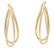 Polished Double Oval Twisted Hoop Earrings 14K Gold - J331349