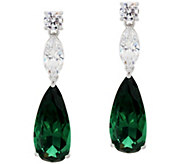 As Is The Elizabeth Taylor 10.80 cttw Simulated Emerald Earring - J333249