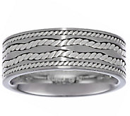 High Polished Stainless Steel Ring w/Twisted Sterling Inlay - J336349