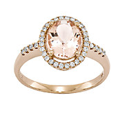 1.55 cttw Oval Morganite & 1/5 cttw Diamond Halo Ring, 14K - J336649