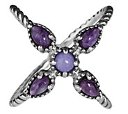 Carolyn Pollack Sterling Silver Gemstone X-Design Ring - J337849