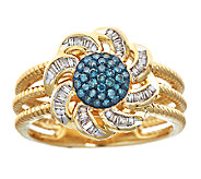 Blue & White Diamond Flower Ring, 3/10cttw, 14K, by Affinity - J339249
