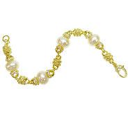 Judith Ripka Sterling/14K Clad Pearl Station 7-1/2 Bracelet - J340649