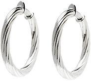 UltraFine Silver 1-1/2 Twisted Clip-On Hoop Earrings - J340949