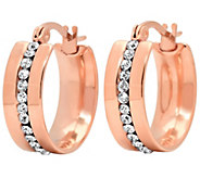 Stainless Steel Crystal Hoop Earrings - J341749