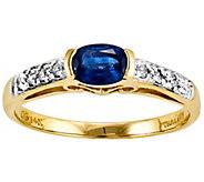 Sapphire & Diamond Accent Bezel Ring, 14K Yellow Gold - J342249