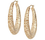 Arte dOro 1-1/2 Satin-Finish Oval Hoop Earrings, 18K - J343149