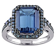 5.20 ct London Blue Topaz & 3/10 cttw Blue Diamond Ring, 14K - J343349