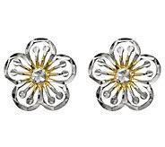 14K Gold Two-tone Flower Post Earrings - J344849