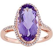 14K Gold 4.30 ct Amethyst & 1/6 cttw Diamond Ring - J345249