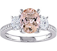 14K 1.65 ct Morganite & 6/10 cttw Diamond R ing - J345649