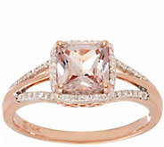 Princess Cut Morganite & Diamond Ring 14K Gold 0.80 ct - J346349