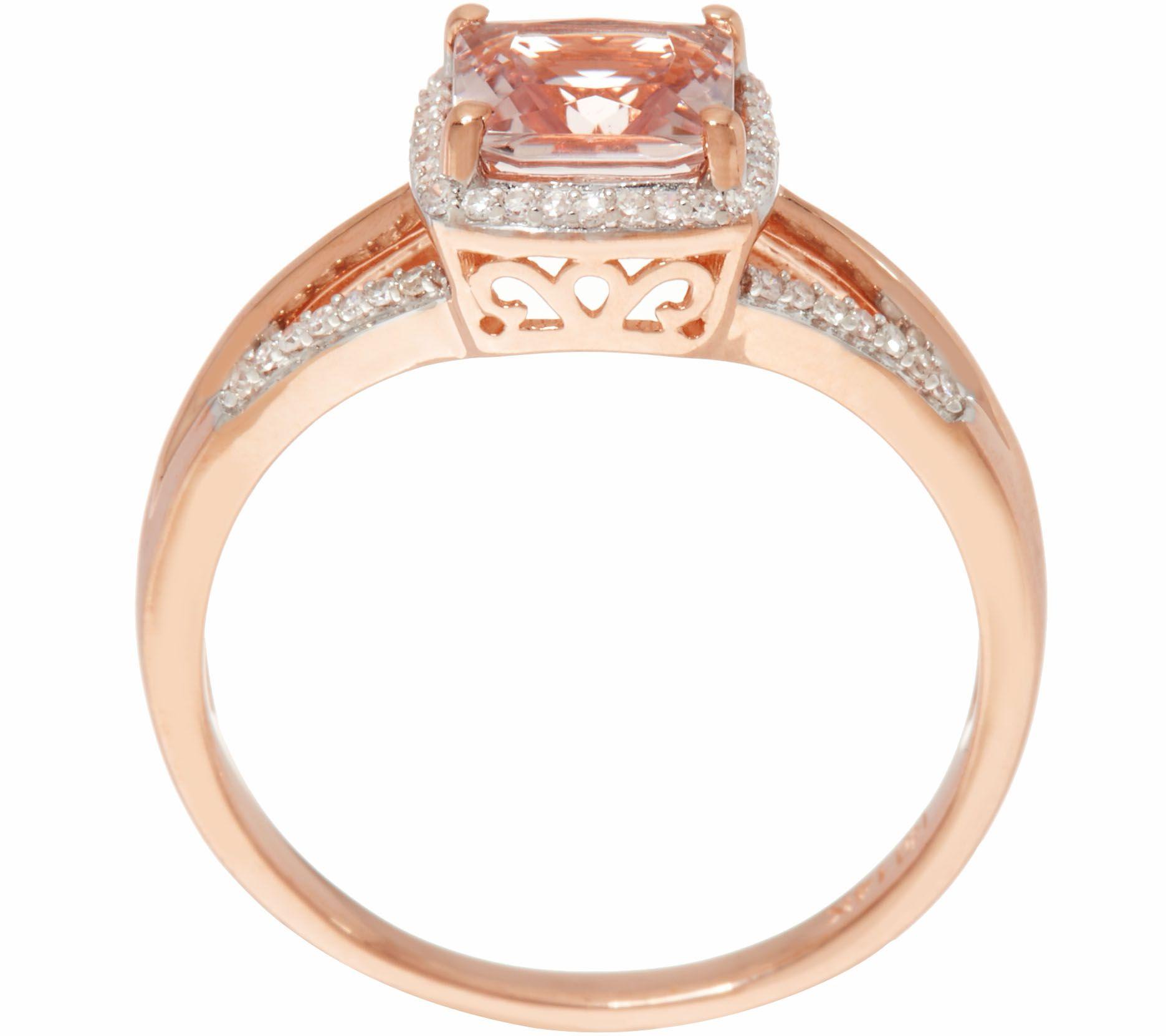 Princess Cut Morganite & Diamond Ring 14K Gold 0 80 ct Page 1
