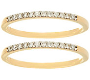 As Is Set of 2 White Diamond Band Rings, 14K Gold by Affinity - J347249