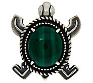 Sterling Silver Malachite Turtle Enhancer by American West - J347349