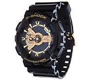 G-Shock Mens Analog Digital Goldtone Black Resin Watch - J347849