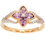 Purple Sapphire & Diamond Floral Ring 14K Gold, 0.50 cttw - J348149