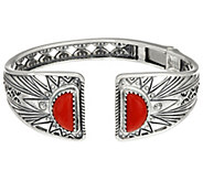 Red Coral Sterling Silver Sun Ray Hinge Cuff by American West - J348449