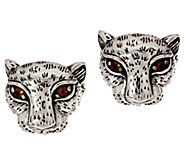 JAI Sterling Silver Leopard Stud Earrings - J348549
