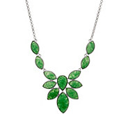 Multi-Cut Jade Sterling Silver Statement Necklace - J349649