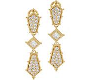 Judith Ripka 14K Clad Diamonique Drop Earrings 2.45 cttw - J349949
