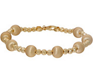 Italian Gold 6-3/4 Satin Bead Bracelet 14K 6.7g - J350649