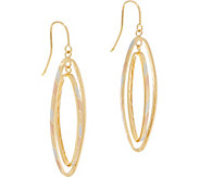 Italian Gold Tri-Color Navette Earrings, 14K Gold - J350949