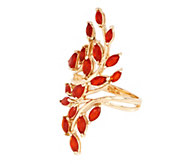 Fire Opal Bold Leaf Design Ring, 14K, 1.00 cttw - J353549