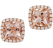 Cushion Morganite and Diamond Stud Earrings, 14K, 2.50 cttw - J353749