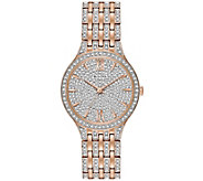 Bulova Womens Rosetone Crystal Watch with PaveDial - J375149