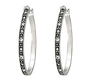 Suspicion Sterling Marcasite and Crystal RoundHoop Earrings - J112450