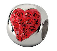 Prerogatives Sterling Red Crystal Small Heart Bead - J113250