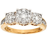 3-Stone Cluster Design Diamond Ring, 14K Gold 1.00 cttw by Affinity - J274350