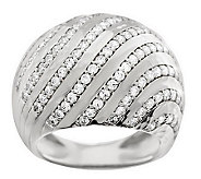 VicenzaSilver Sterling Domed Pave Crystal Swirl Design Ring - J278050