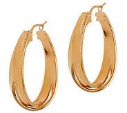 Veronese 18K Clad 1-3/8 Swirl Textured Double Twist Hoop Earrings - J282350