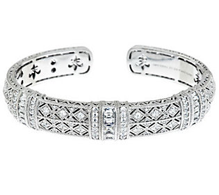 Product image of Judith Ripka Sterling Estate Pia 3.10cttw Skinny Diamonique Cuff